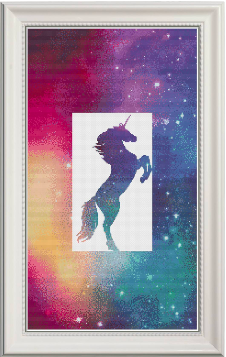 Galactic Unicorn Counted Cross Stitch Chart