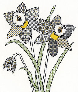 Blackwork Daffodils Bothy Threads Kit