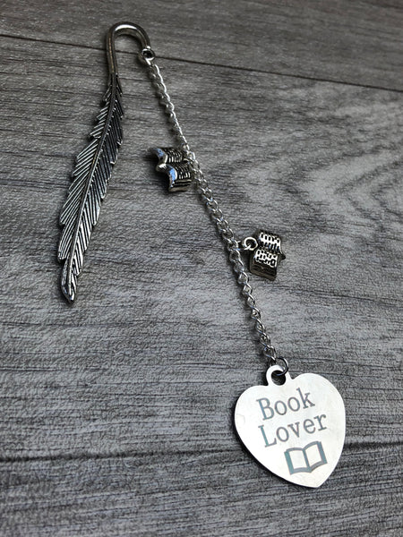 Book Lover Silver Dangle Feather Bookmark