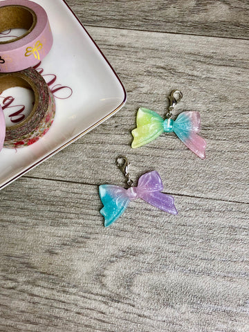 Pastel Resin Glitter Bow Planner Charms