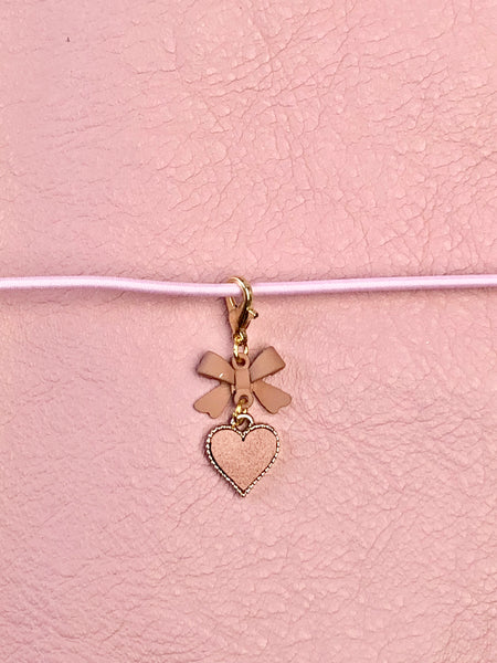 Pink Leather Heart & Matte Bow Planner Charm