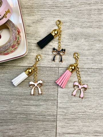 Suede Tassel Bow Planner Charms