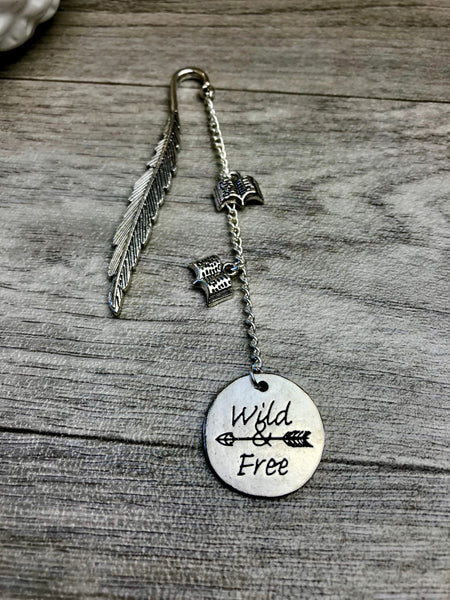 Wild & Free Silver Dangle Feather Bookmark