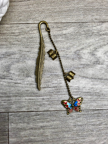 Butterfly Antique Bronze Dangle Feather Bookmark