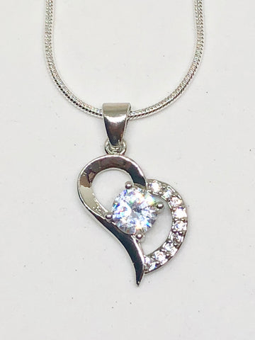 925 Sterling Silver Heart Diamond Necklace