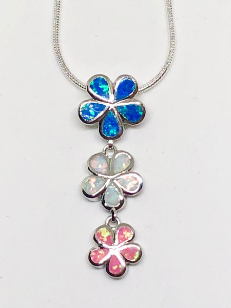 Trio of Flowers Pink, White & Blue Fire Opal 925 Sterling Silver Necklace