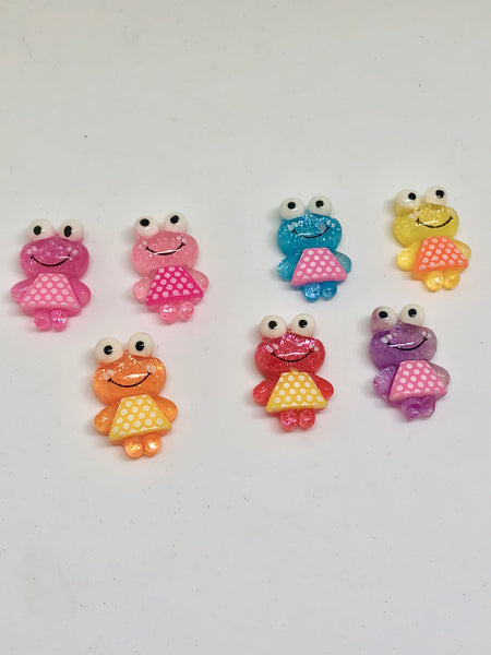 Small Glittery Resin Frog Needleminders