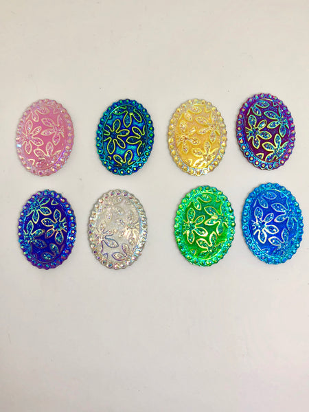 Oval Flower Sparklies Needleminders for Cross Stitch/Embroidery
