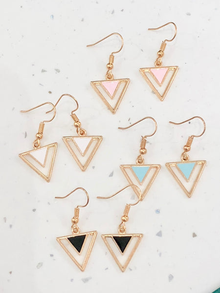 Modern Abstract Gold Dangle Earrings