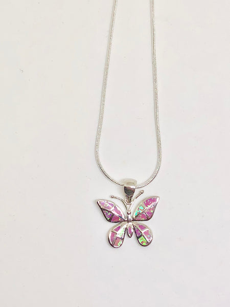 Pink Butterfly Fire Opal 925 Sterling Silver Necklace