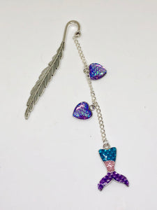 Mermaid Magic Silver Dangle Feather Bookmark