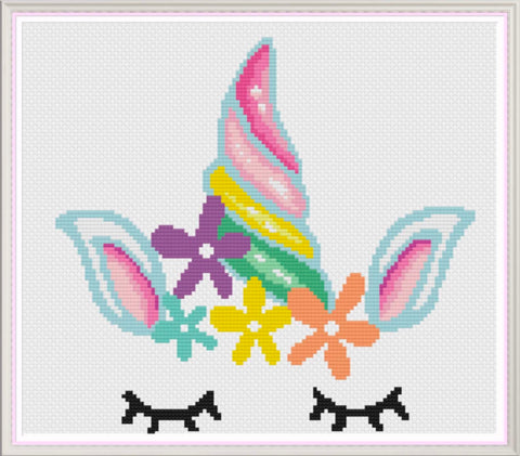Unicorn Head Counted Cross Stitch Chart