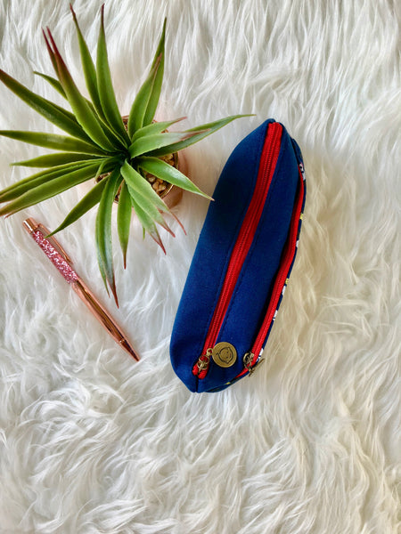 Blue & Red Floral Double Zip Pencil Case