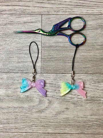 Pastel Resin Glitter Bow Scissor Charms