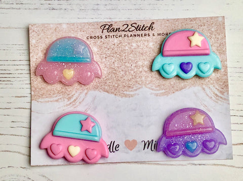 Pastel & Glitter Spaceship Needleminders