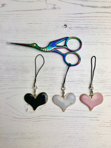 Curvy Heart Enamel Scissor Charms for cross Stitch and embroidery