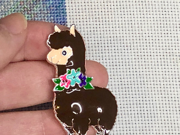Karma the Llama Alloy Enamel Needle Minder