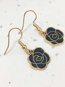 Black & Gold Flower Earrings