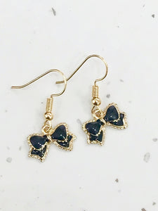 Black & Gold Bow Dangly Earrings
