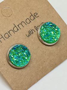 Green Druzy Stud Earrings