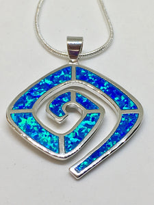 Blue Fire Opal 925 Sterling Silver Necklace