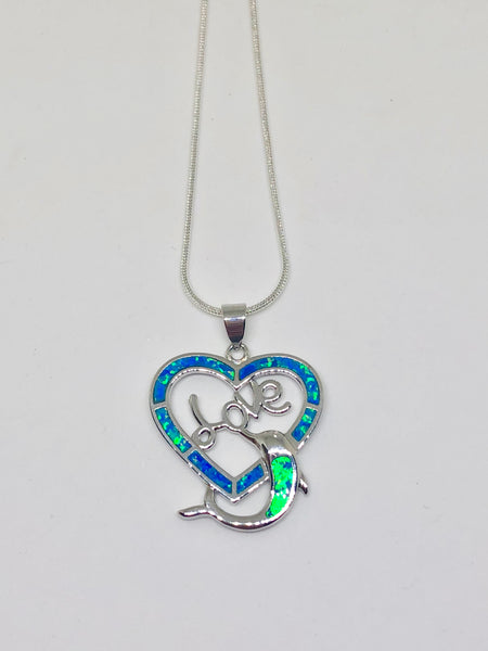 Blue Fire Opal Dolphin Love 925 Sterling Silver Necklace