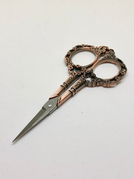 Vintage Rose Gold Floral Scissors