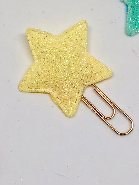 Pastel Glitter Star Paperclips x3