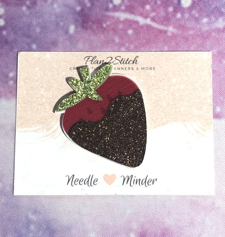 Chocolate Dipped Glittery Strawberry Needle Minder