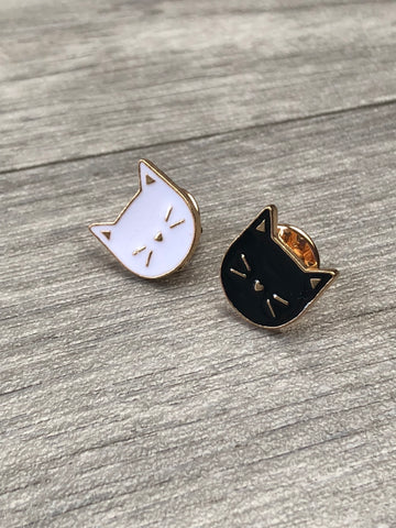 Cat Duo Gold Enamel Pin/Brooch