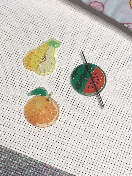 Fruit Halves Glittery Needle Minders