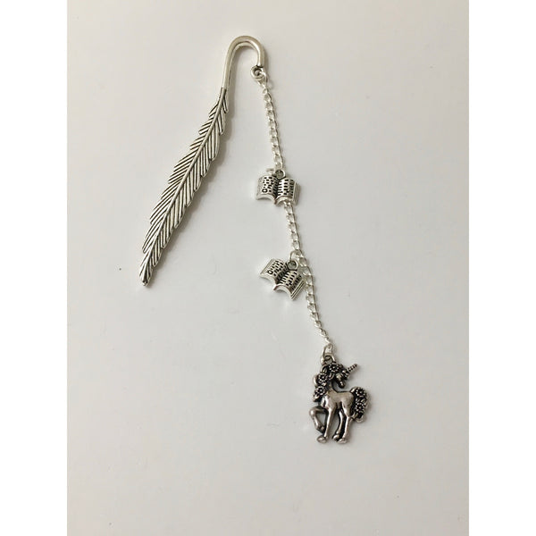 Antique Silver Feather and Unicorn Bookmark