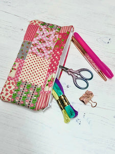 Pink Picnic Pocket Pouch/ Pencil Case/ Storage