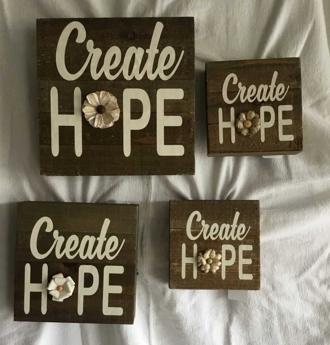 Create Hope Wood Plaque