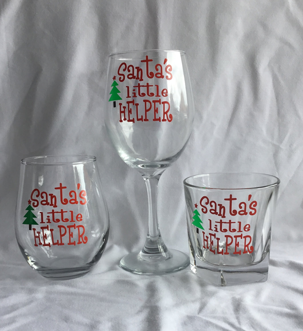 Santa's Little Helper Wine or Rock Glass