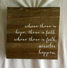 Miracles Happen Wood Plaque 12x12