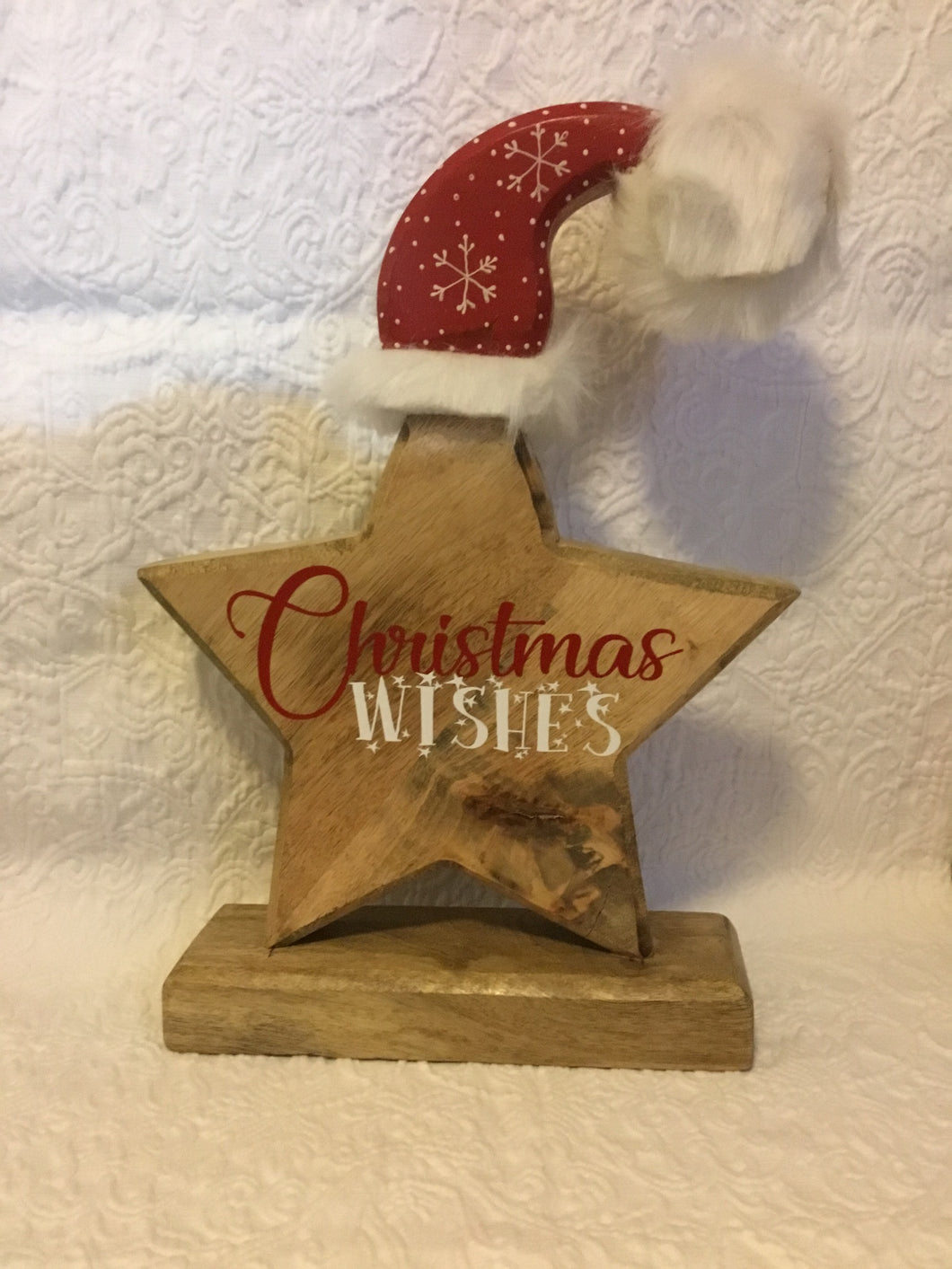 Christmas Wishes Wooden Star