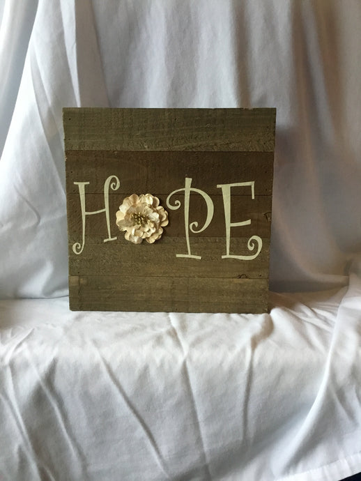 Hope Wood Plaque 8X8