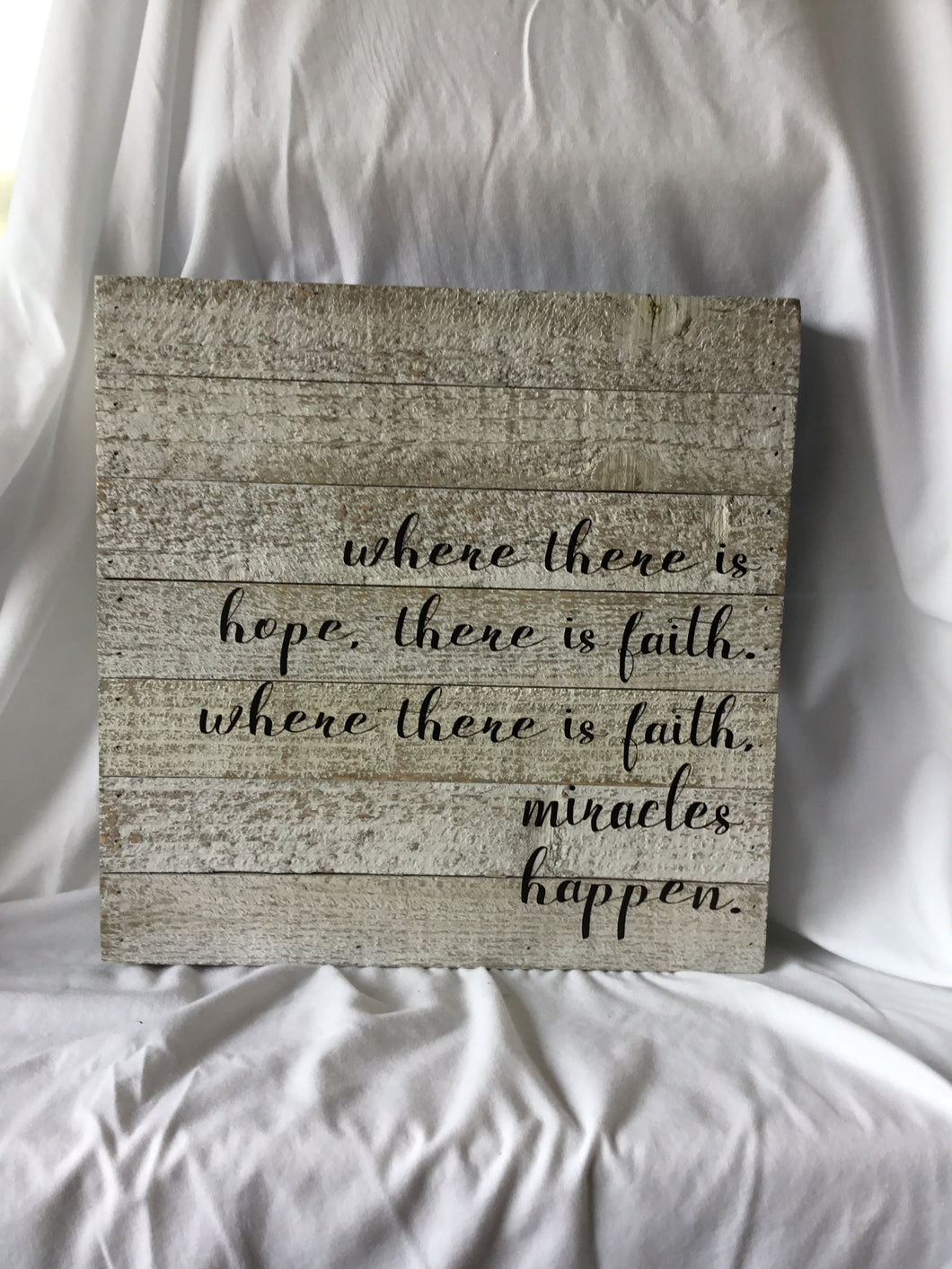 Miracles Happen Wood Plaque 14x14
