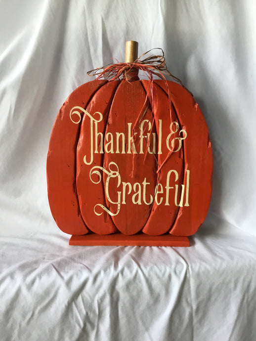 Thankful & Grateful Wood Pumpkin