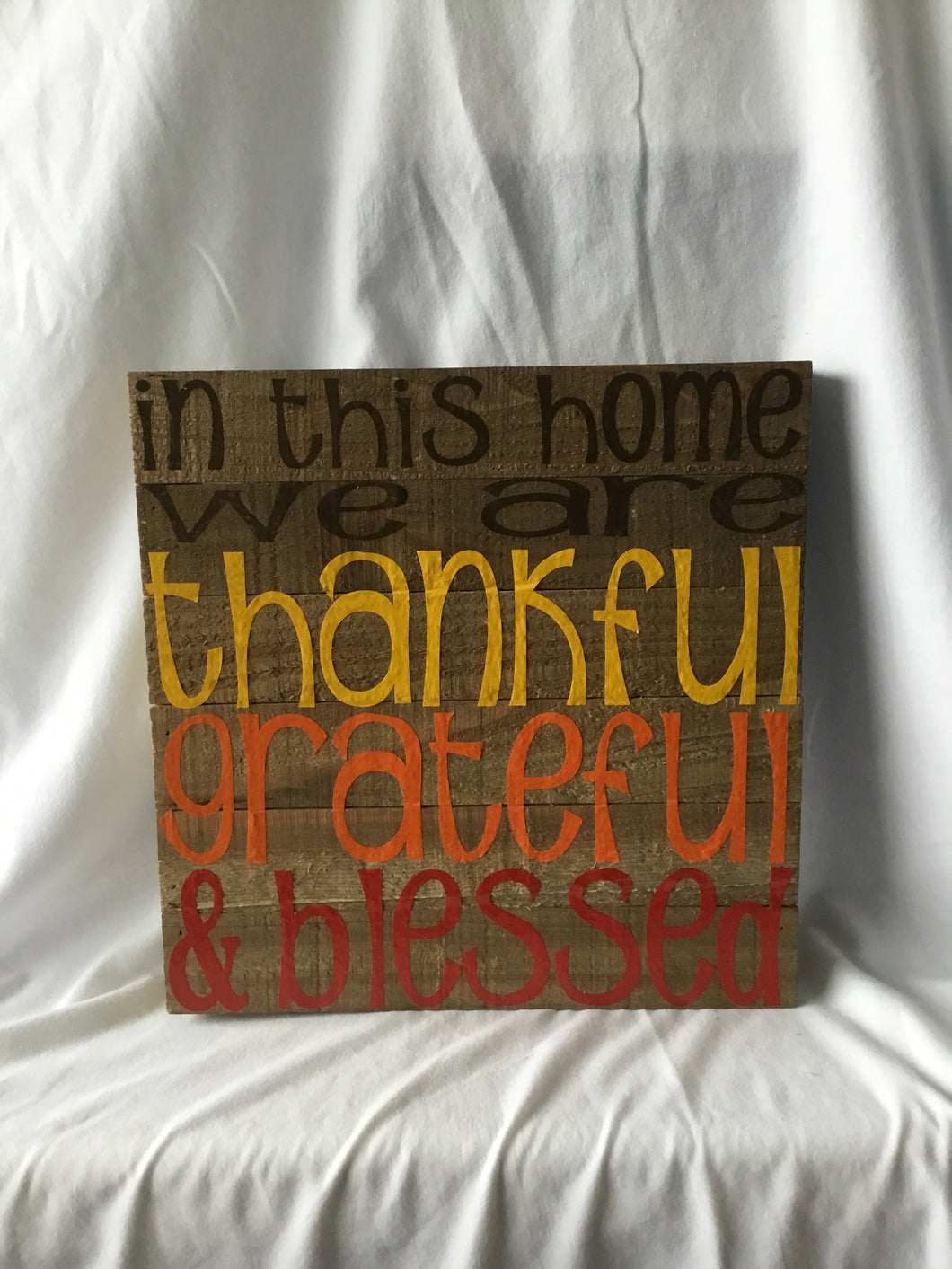 Thankful Grateful Blessed Wood Plank Pallet