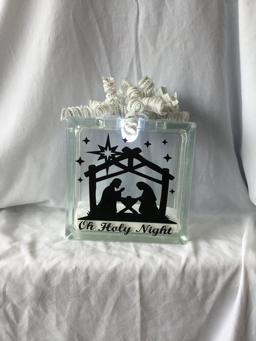 Nativity Glass Block-Small