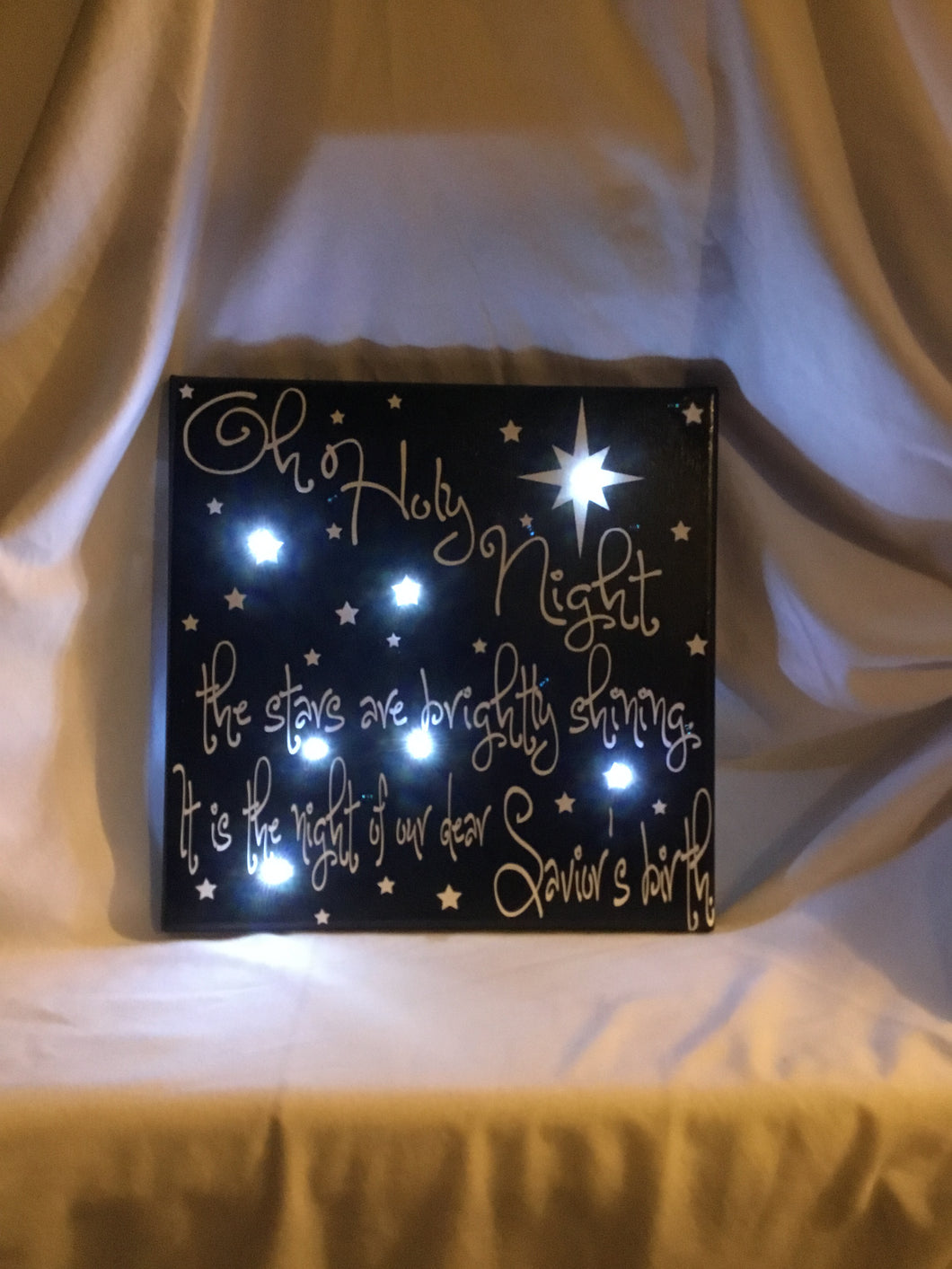 Oh Holy Night Lighted Canvas Sign