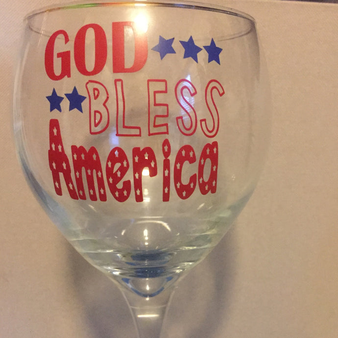 God Bless America Wine Glass