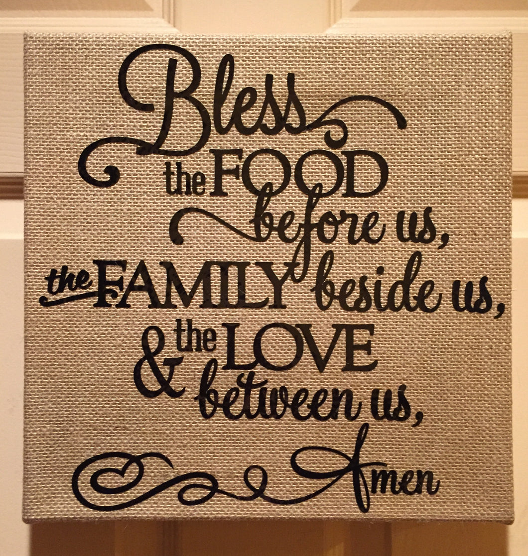 Bless the Food 12x12 Canvas Sign