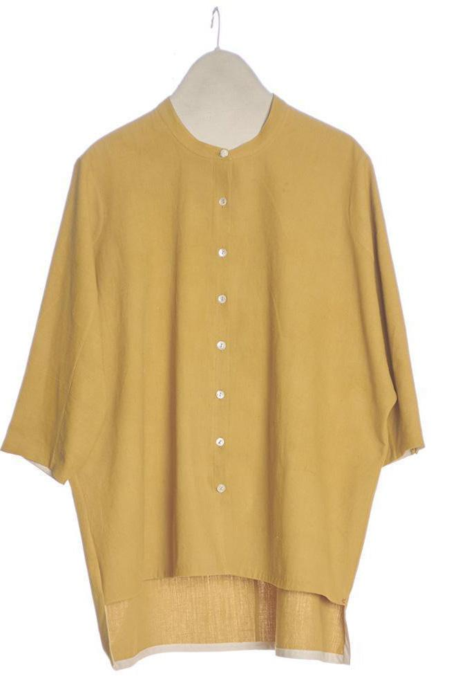 OCHER YELLOW RELAXED FIT TOP ORGANIC COTTON
