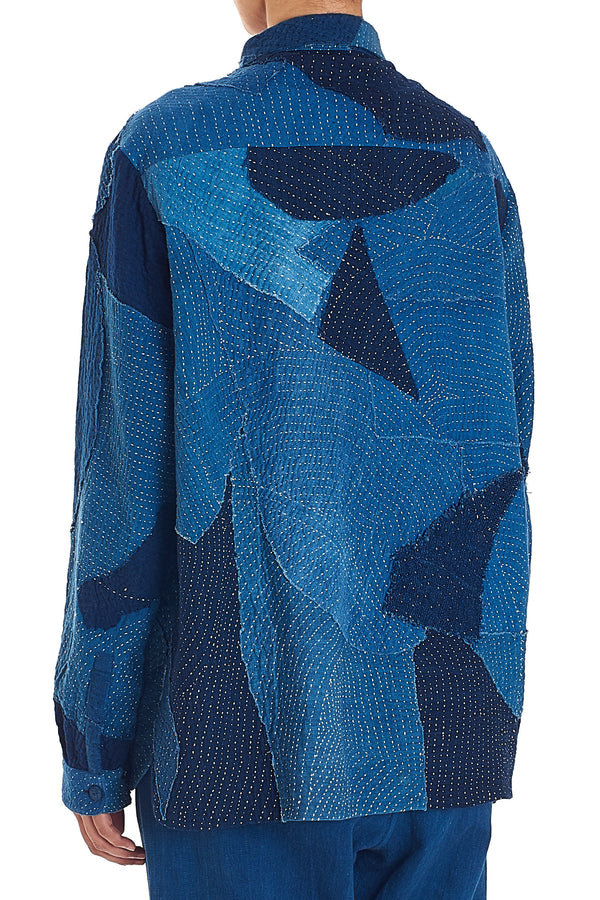 INDIGO PATCHWORK QUILTED SHIRT