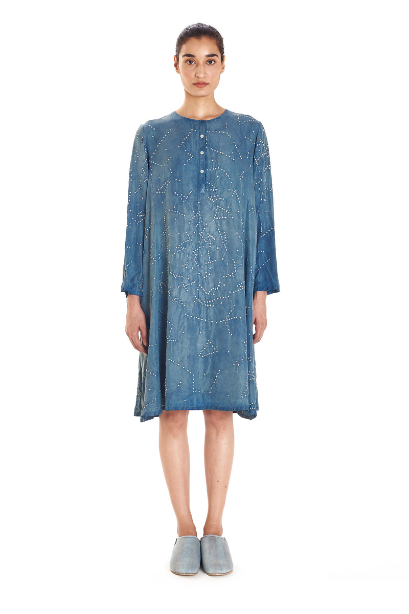 INDIGO KNEE - LENGTH BANDHANI FINE SILK DRESS