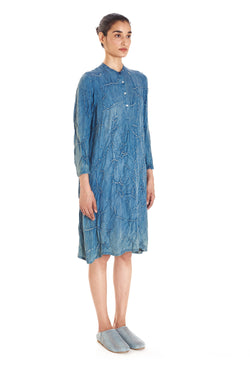 INDIGO FLARED BANDHANI DRESS MULBERRY SILK