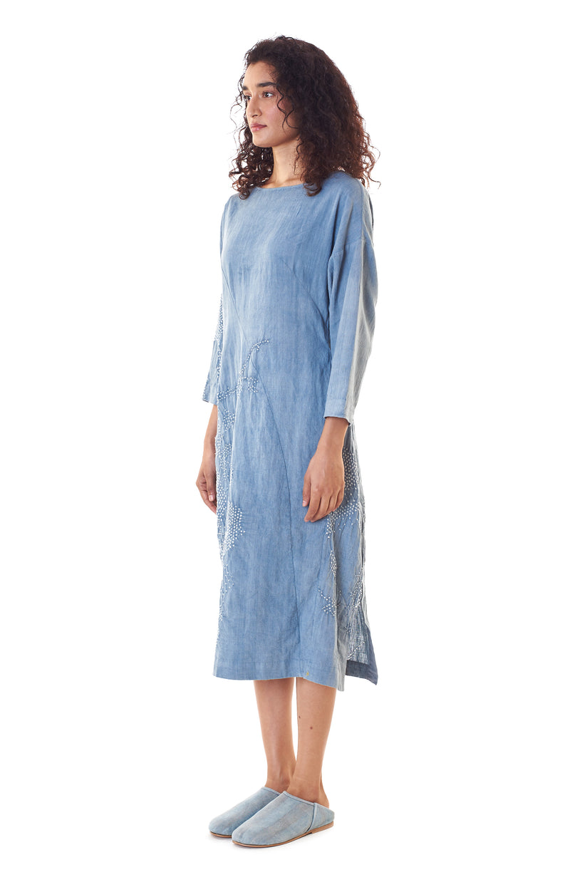 INDIGO SHIFT BANDHANI DRESS ORGANIC COTTON